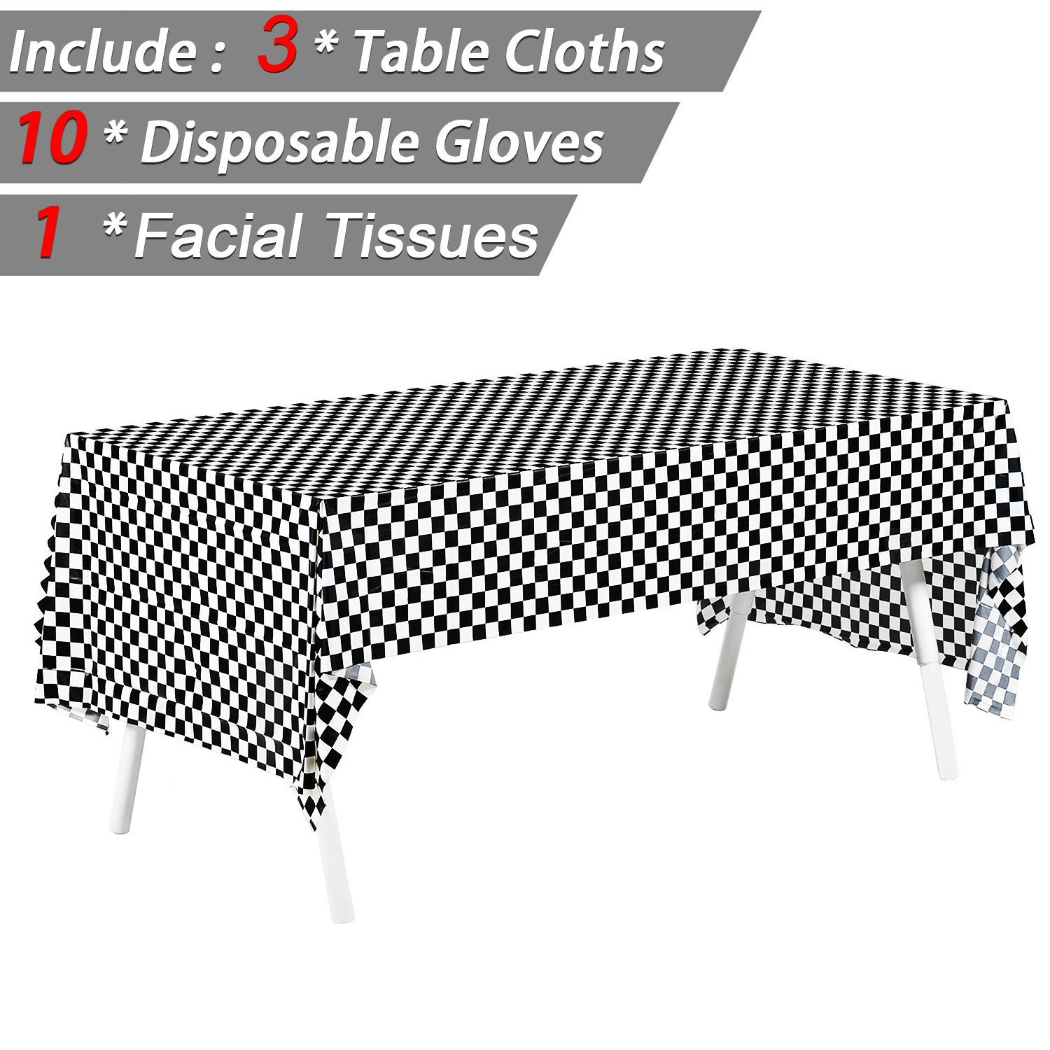 """Pack of 3, 54"""" x 108"""" Black & White Checkered Flag Tablecloths Disposable Tablecovers Party Favor, Picnic Table Covers - Include 10 Pairs Plastic Disposable Gloves + 1 pack Facial Tissues"""