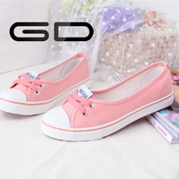 New Style 2015 Spring Fashion Girls Lace Up Design Pink Colored Canvas Shoes Wholesale