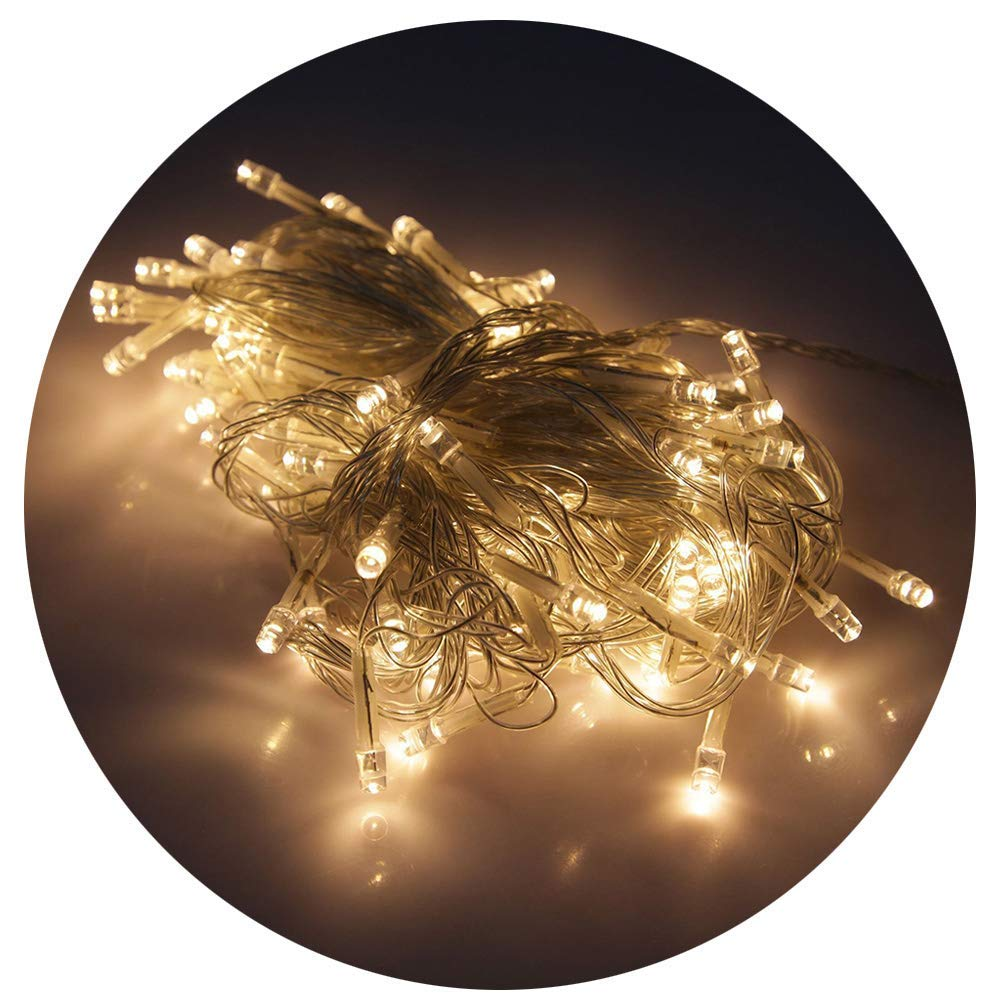 Yantu Xmas Light String Lights Warm White Color LED String Light with 100 Mounted LED's Bulbs, 33ft,Home Decor