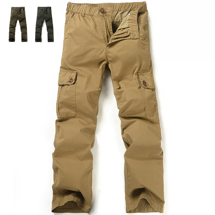 High quality Outdoor cotton elastic waist Multi Pocket cargo pants men big size cargo trousers for men,mens khaki pants military