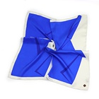 Simple Design Blue Geometric Printed Neckerchief Twill Silk Scarves Custom Made with Hand Rolled Hemming