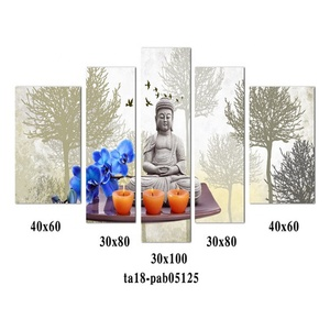 Custom 5 piece canvas Sitting Buddha Oil Painting on Canvas for living room