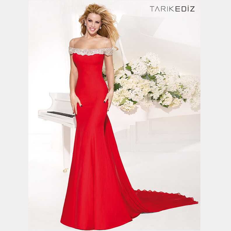 7d980d2cfbd Get Quotations · 2015 Tarik Ediz Spaghetti Strap Beaded Sheer Back Court  Train Red Mermaid Evening Dress