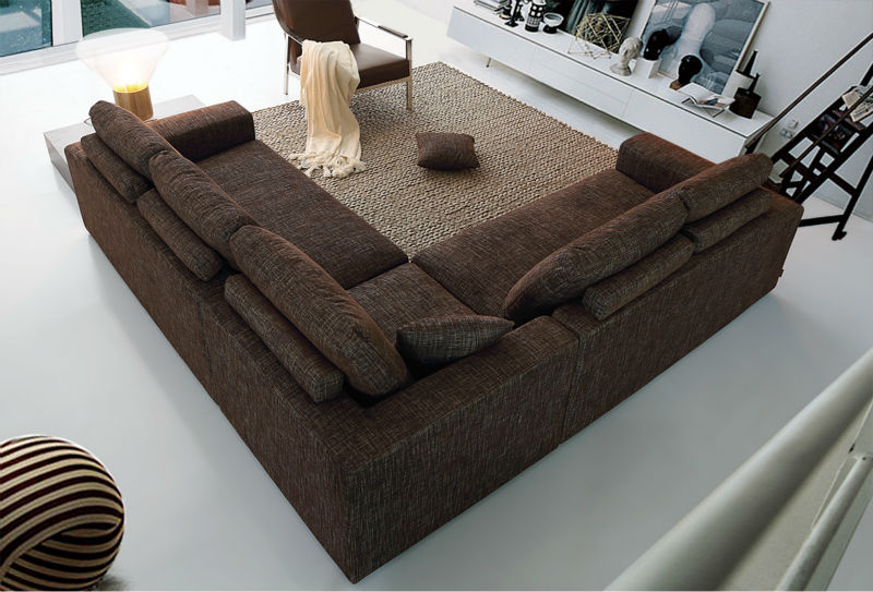 Extra 8 Seater Solid Wood Comfortable High Back Deep Sectional Sofa
