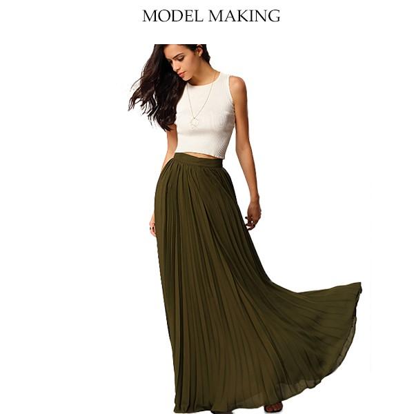 519be0c6a Women Fancy Olive Flowy Chiffon Pleated Muslim Long Skirt Pattern ...