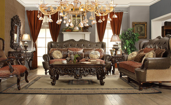 2017 Fancy Top Grain Genuine Leather Living Room Furniture Sofa Set/Spanish  Style Hand Carved