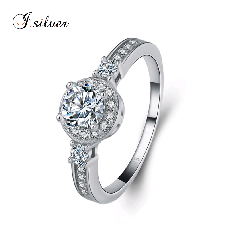 Jewelry ring <strong>silver</strong> 925 with round white cz stone for wedding R20092