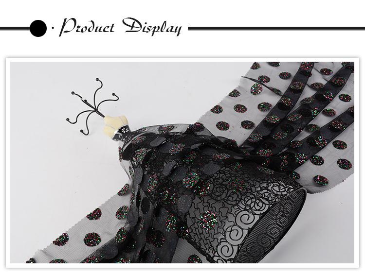 Good price different design luxury 100 polyester mesh dotted sequin fabric dress