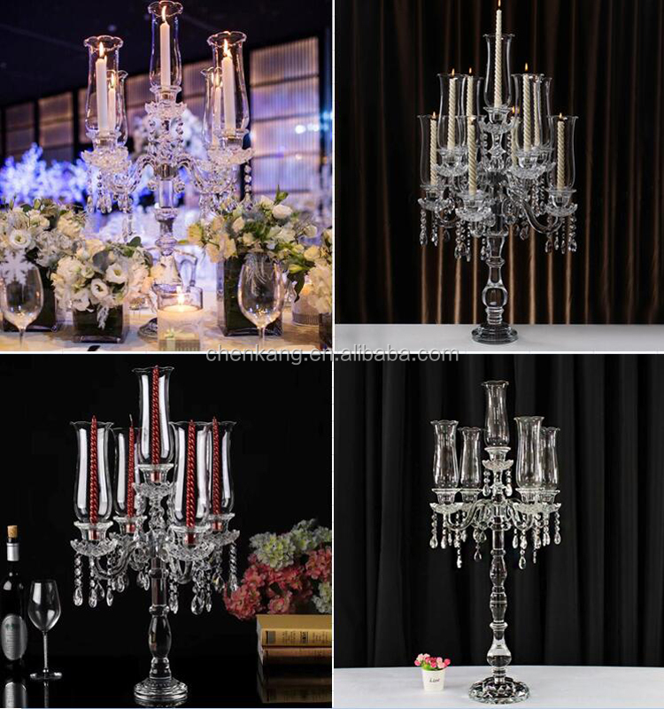 new design cheap wedding crystal candelabra tall candle 5 arm stands