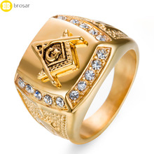 Mason Freemasonry Masonic Ring Afghan Jewellery CZ Stone Titanium Gold Ring Designs for Men