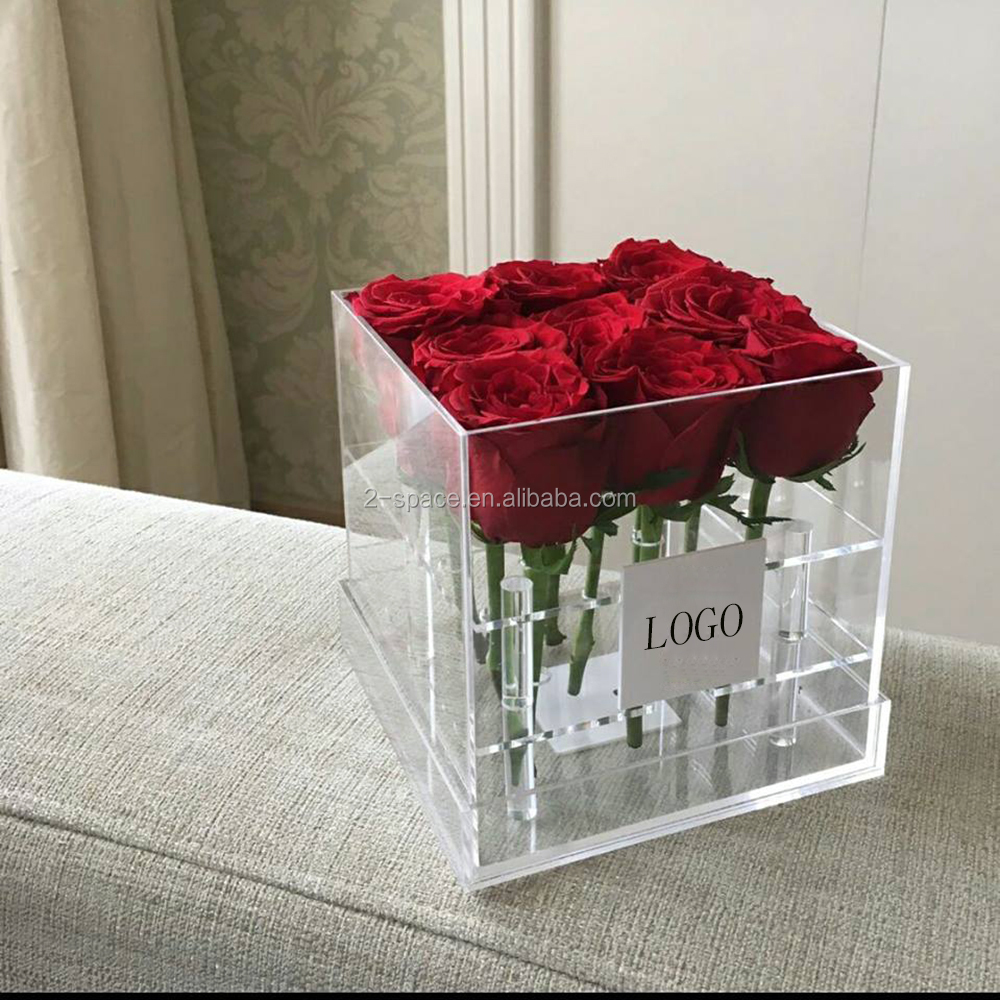 0a1cb5b1dcbd Valentine s Day Lucite Customized Flower Box Clear Acrylic Small Square 9  Roses Box