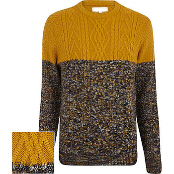 11e2306e9abcd Men s Mustard Cable Knit Color Block Sweater - Buy Cable Sweater ...