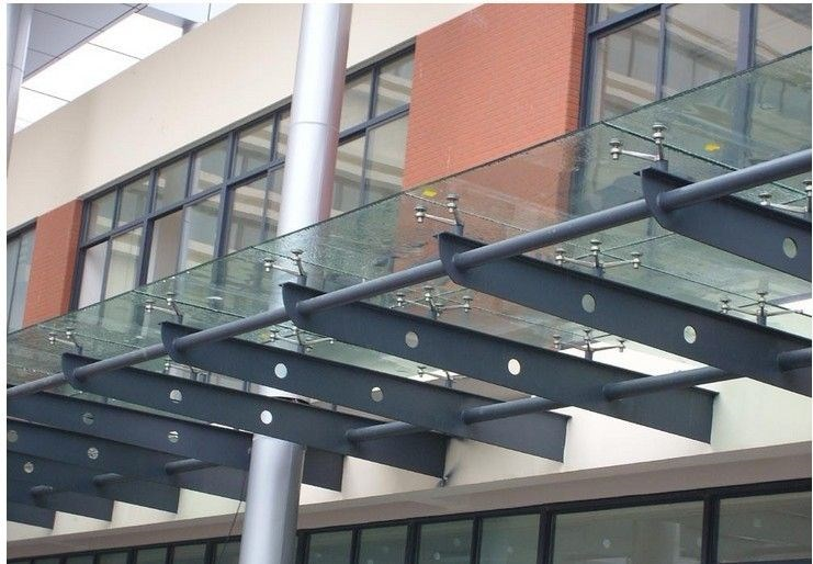Toughened Glass Awning With Carbon Steel Frame Entrance