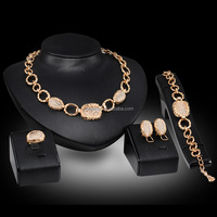 Fashion Crystal African Beads Jewelry Sets Gold Color Wedding Bridal Jewelry Set Women Necklace Earrings Bracelets Ring Gift