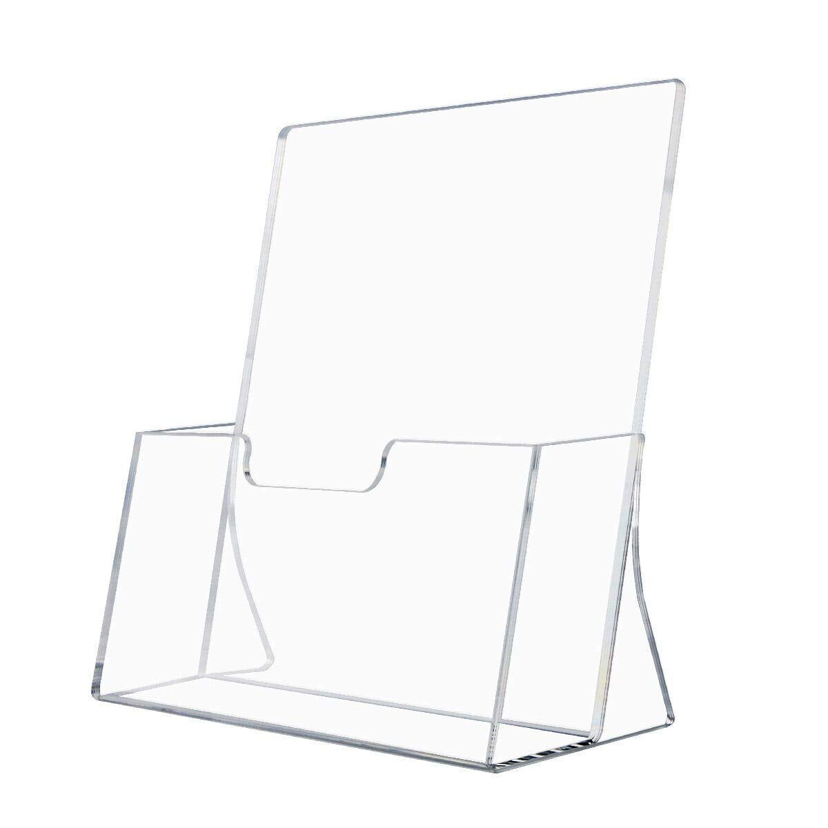 NIUBEE Acrylic 8.5x11 Brochure Holder Unbreakable Box Package,Clear Plastic Table Top Booklet Pamphlet Catalog Magazine Display(2 mm Thick,2 Pack)