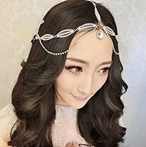 Type1 Crystal Diamond Bride Bridal Wedding Hair Head Band Wear Pearl Rhinestone Jewelry Headdress Headband Tiara Coronal Eyebrow Fall Forehead Chain