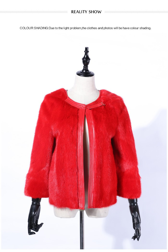 Winter New Design Red Colour Mink Fur Coat Short Coat - Buy Red ...