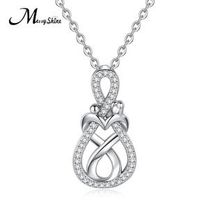 Custom zircon woman mom mother and child daughter Cubic Zirconia 925 Silver pendant jewelry chain necklace