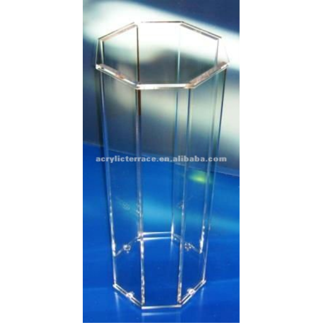 Hexagonal cheap clear acrylic lucite perspex flower pedestal or stand