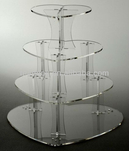 4 TIER HEART ACRYLIC CUPCAKE STAND CLEAR WEDDING CAKE STAND