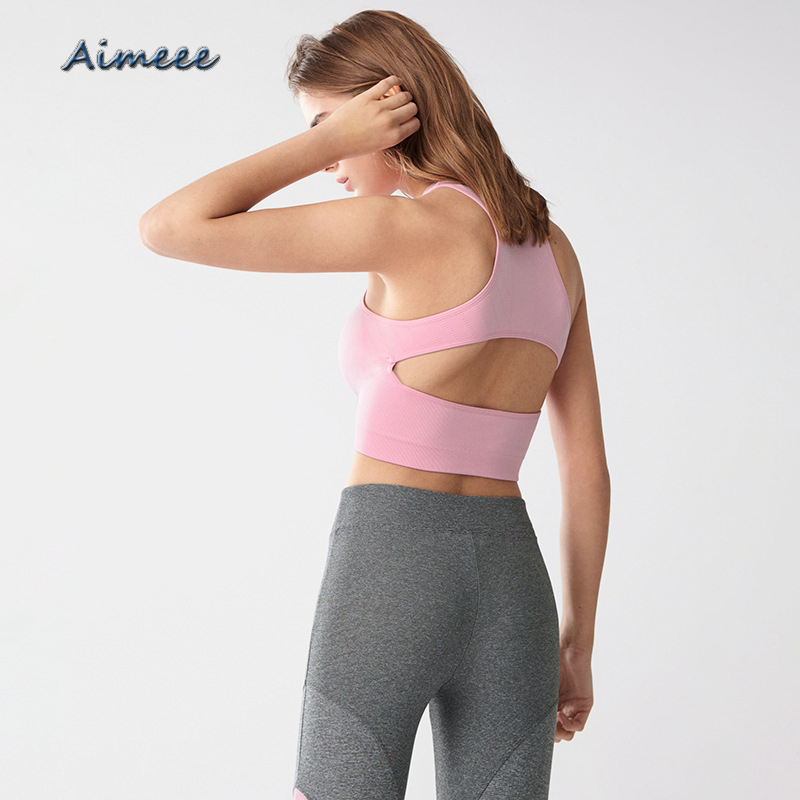Damen aushöhlen Stehkragen Sport Weste Yoga-BH Sport Top Shockproof Shapes