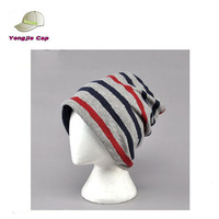 Stylish Men Women Stripe Slouchy Beanie Toweling Knit Skull Cap Unisex