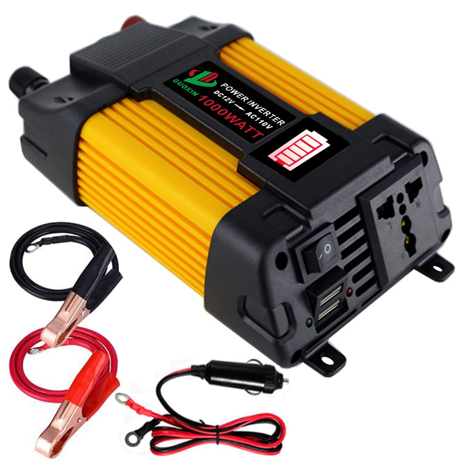 GUOXIN Car Power Inverter DC 12V to AC 110V 120V 1000W Dual USB 4.2A with Car Cigarette Lighter LED Battery Display and Battery Clip