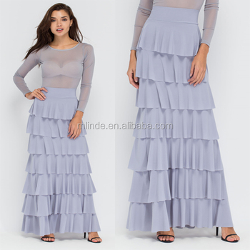 f19619b9cd83ea Wholesale new fashion factory price tiered layer ruffled maxi skirt high  quality elegant long lady skirt