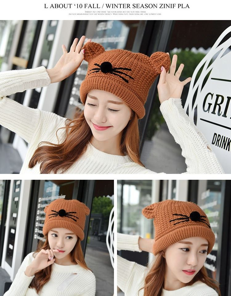 The new winter hat female Korean tide thick warm wool hat cap knitted hat cute cat ear ear hat
