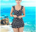 2016 Women Push up Bikini plus size swimwear Beach bathing suit Dot one piece Swimsuit elasticity
