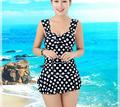 2016 Women Push up Bikini plus size swimwear Beach bathing suit Dot one piece Swimsuit elasticity