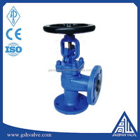 Manual bellows sealed right angle globe valve