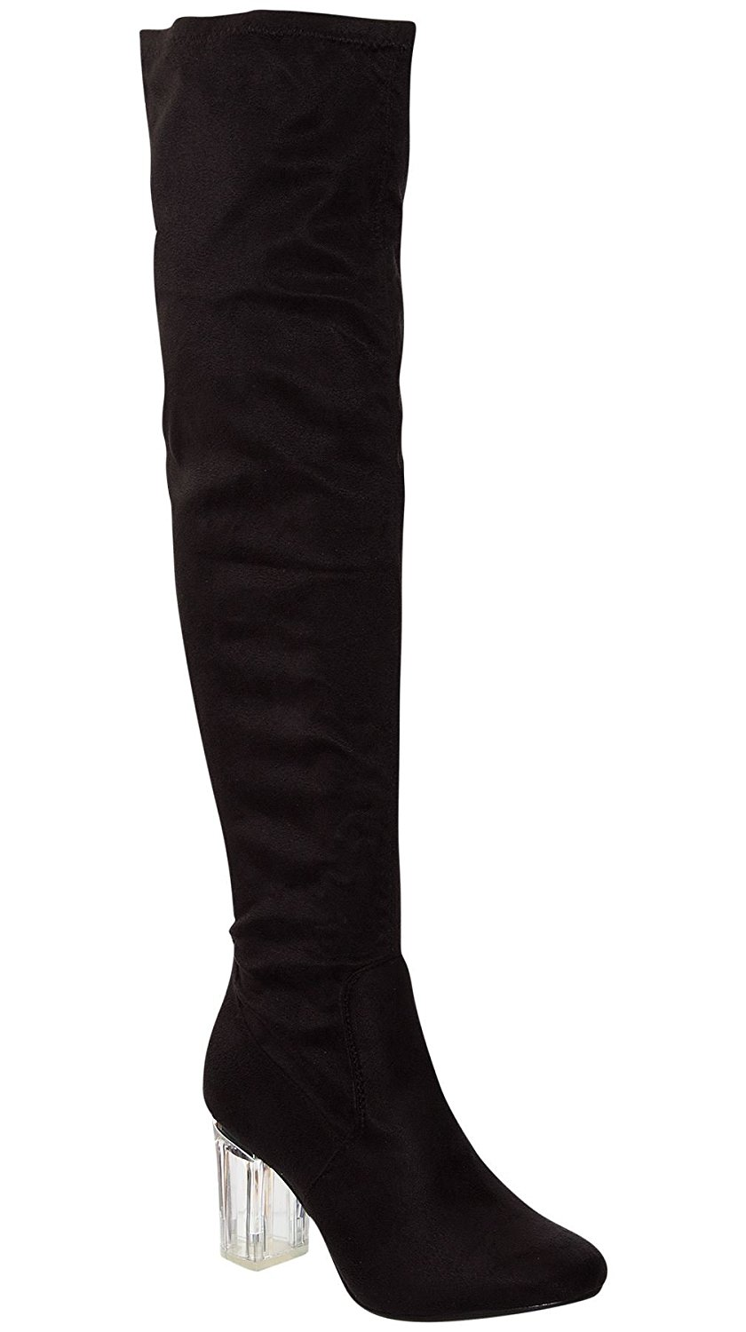 a00b8f6addf Shelikes Womens Ladies Thigh High Boots Over the Knee Party Stretch Block  Mid Size Perspex Heel