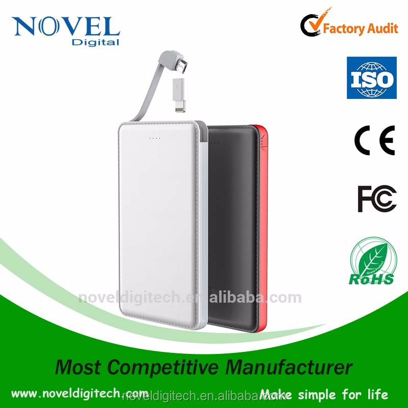 2017 Best Seller Innovational built-in cable 5000 mah mobile power bank for Samsung and iPhone