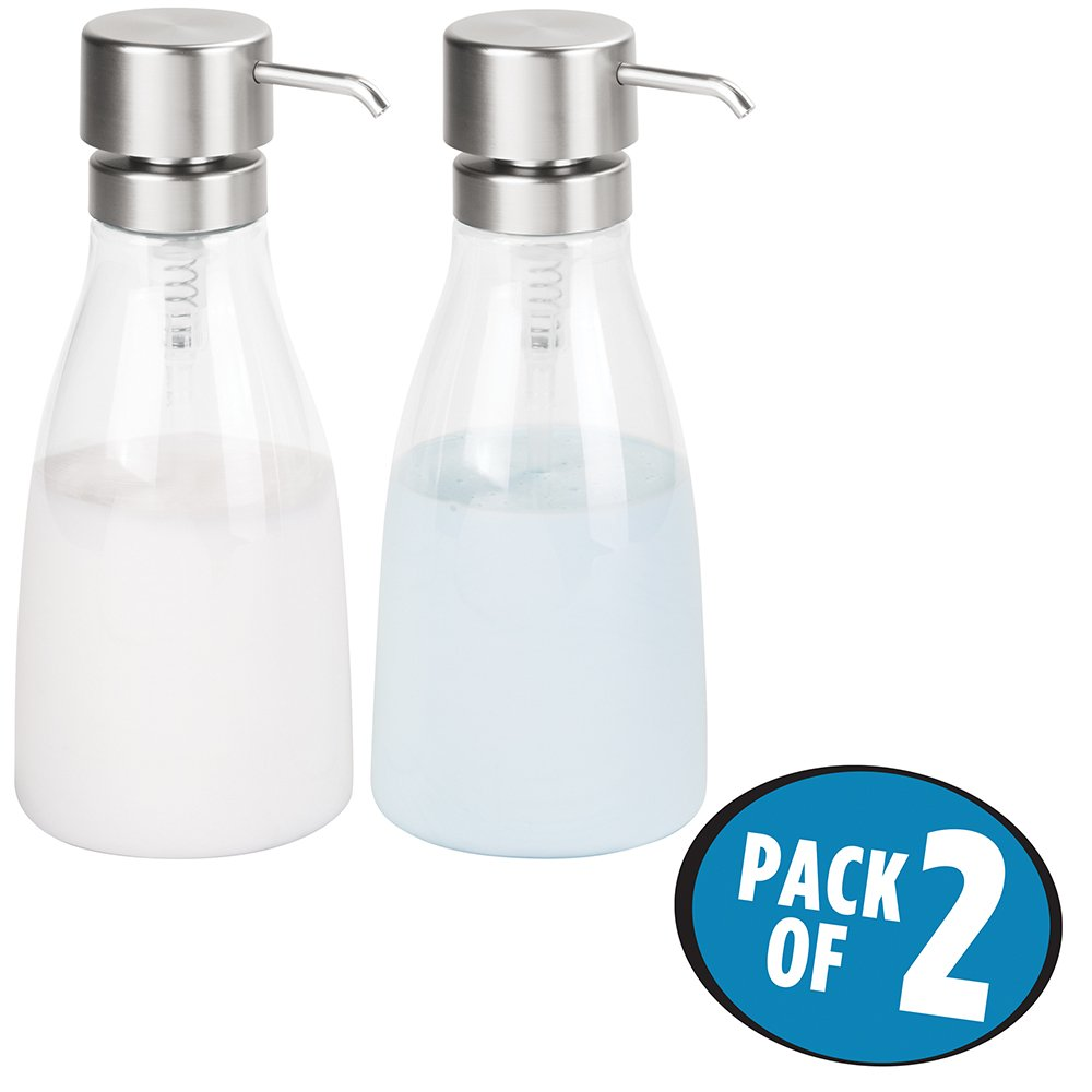 mDesign Extra Large Size Plastic Re-fillable Countertop Dispenser Pump for Shampoo, Conditioner, Liquid Hand Dish Soap, Mouthwash - Set of 2, Large, Clear/Brushed Nickel
