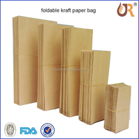 2015 china supplier custom made Natural Recycled brown kraft paper bag in different size