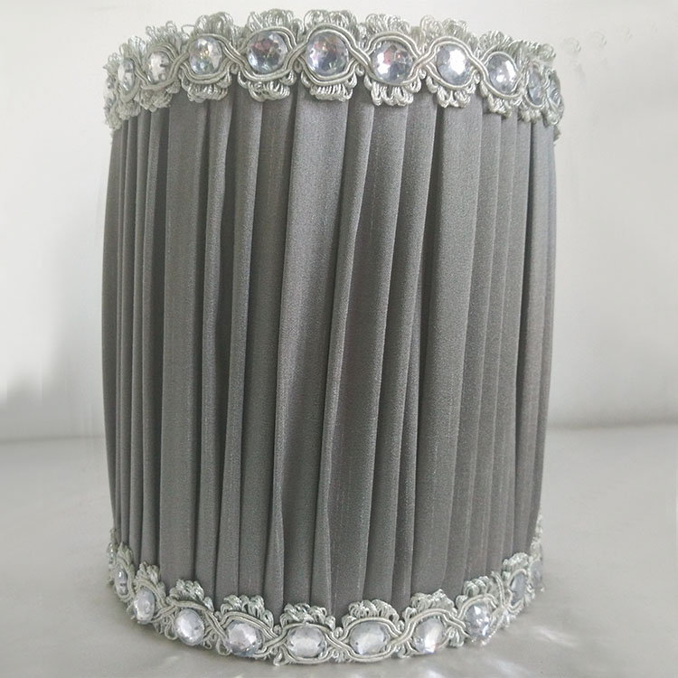 Straight Cylinder pleated beaded fabric floor lampshade wholesale