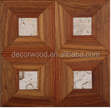 Solid wood Kosso/Marbel inlays pattern parquet flooring