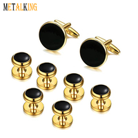 Gold Plated Mens Classic Cufflinks and Studs Set for Tuxedo Formal Kit Business or Wedding Shirts