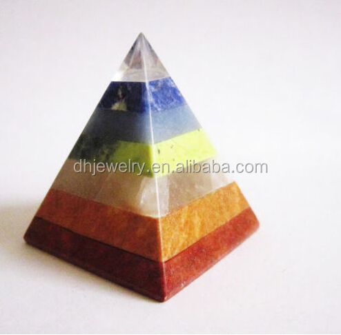 TOP CLEAR QUARTZ CRYSTAL HEALING CHAKRA PYRAMID - 7 NATURAL STONES