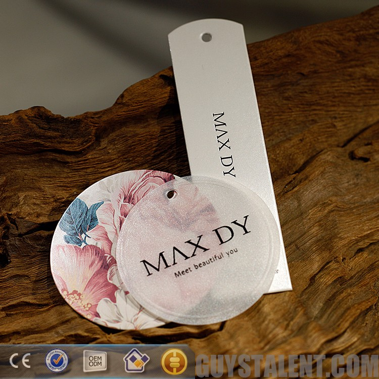 custom china laser recycle paper jeans clothing brand name logo garment label price swing hang tag