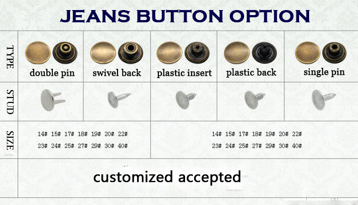 China Good Supplier Quality All Types Of Skull Jeans Button