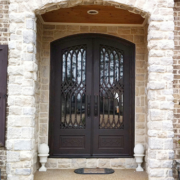 Modern Safety Exterior Door Wrought Iron Main Entrance Doors Grill