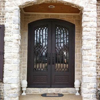 Modern Safety Exterior Door Wrought Iron Main Entrance Doors Grill