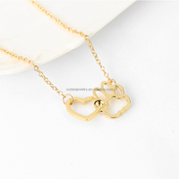 Hollow Pet Paw Footprint Necklaces Cute Animal Dog Cat Love Heart Pendant Necklace For Women Girls Jewelry Necklace