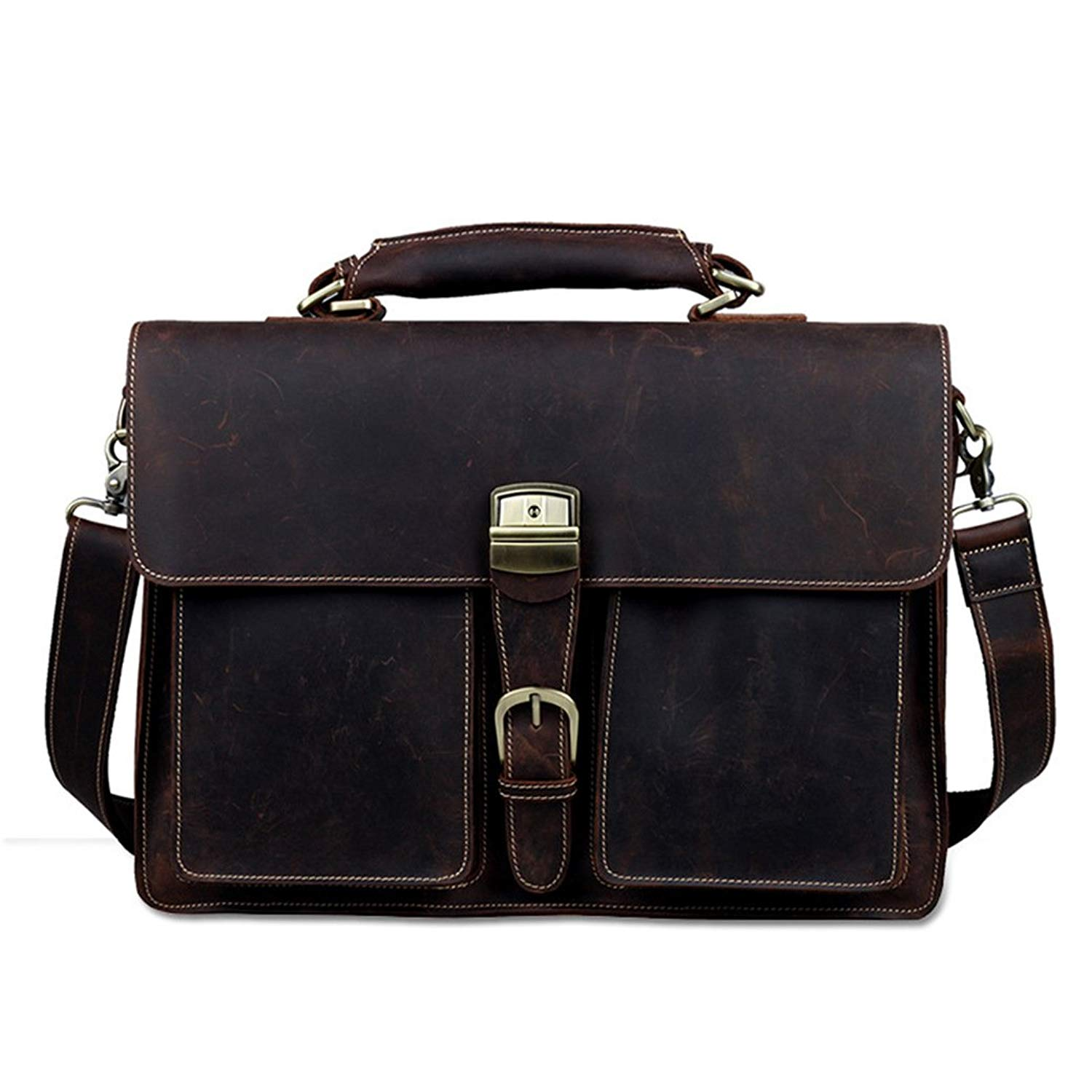 818b2a6c61f3 Get Quotations · leather briefcase Dark brown slim laptop case saddleback  leather classic briefcase