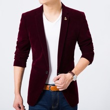 Mens velvet fashion blazer wine red light blue coffee color slim fit lapel pin new 2014 autumn winter coat Free shipping