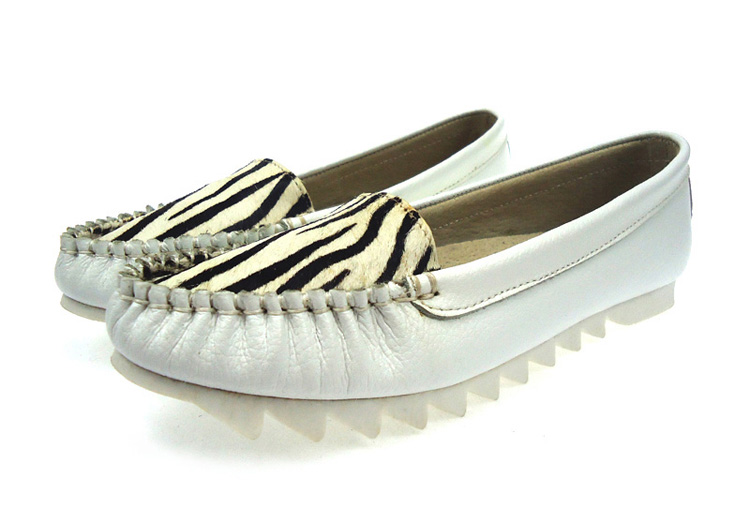 e036d637d04 2015 New Arrival Fashion Round Toe Cow Genuine Leather Pleated White Zebra  Platform Casual First Layer Women Flats Channel Shoes