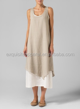 950e273891 Women s Custom Wholesale Linen Double Layered Long Dresses ...