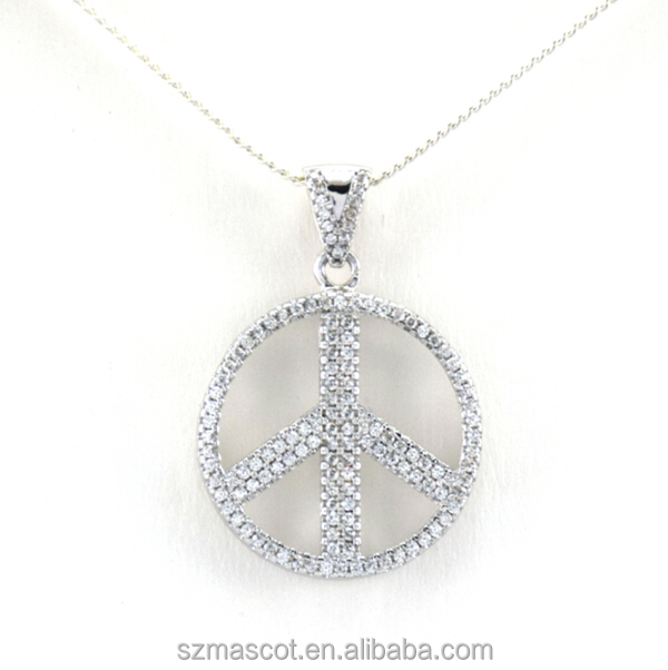 Newest Brass Metal Rhodium Plated Crystal Peace Pendant Jewelry